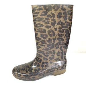 Stuart weitzman leopard print rain boots 6.5-7.5